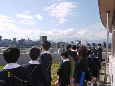 屋上から福島の街を見ました。